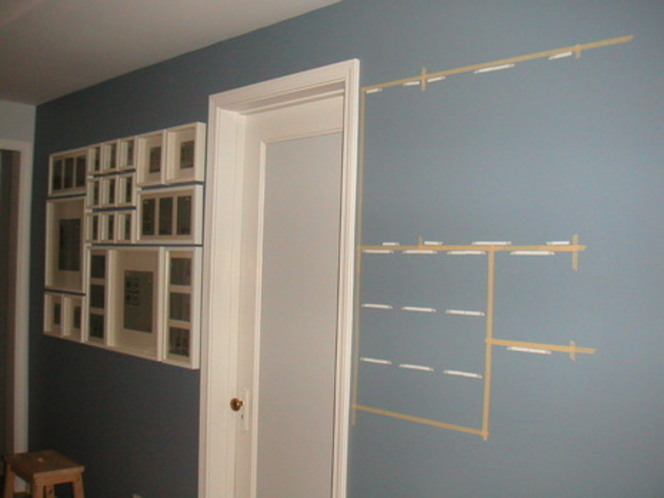 "masking tape and ""velcro"" hangers"